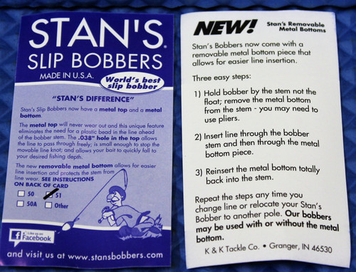 Stan's Slip Bobbers With Removable Metal Bottom Size 51 Weighted CHOOSE YOUR COLOR!