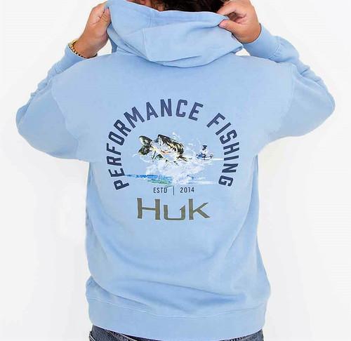 HUK  Men's Bass Hoodie Long Sleeve Dusk Blue H1300065-469 CHOOSE YOUR SIZE !