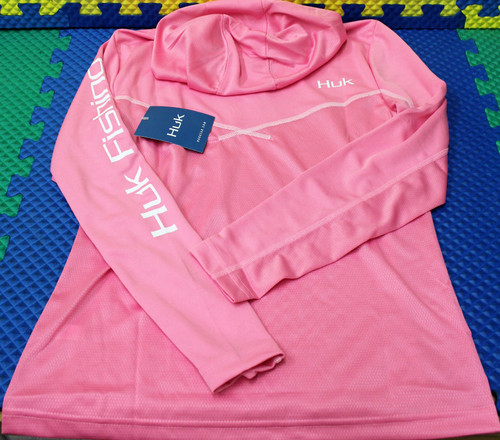 HUK Womens Icon X Hoodie Long Sleeve H6120019-663 Salmon Pink CHOOSE YOUR SIZE!