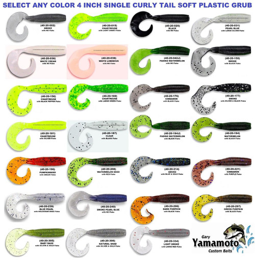 "Gary Yamamoto Grub 4"" Single Tail Soft Bait 20 Pack 40-20 Series CHOOSE YOUR COLOR!!"