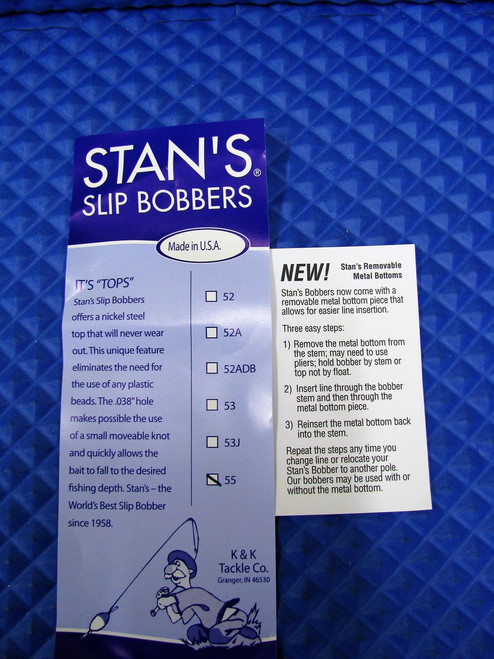 Stan's Slip Bobbers With Removable Metal Bottom Size 55 Fluorescent Orange