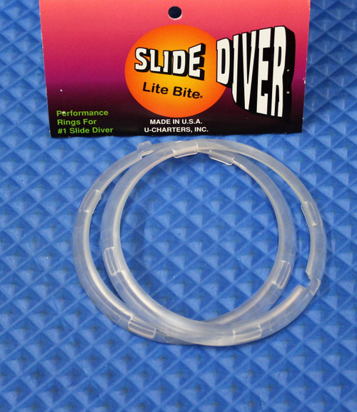 Twin Ring Set #2 Clear: This kit contains 2 small clear rings for the number 1 (large) slide diver. (UPC: 76475003107)