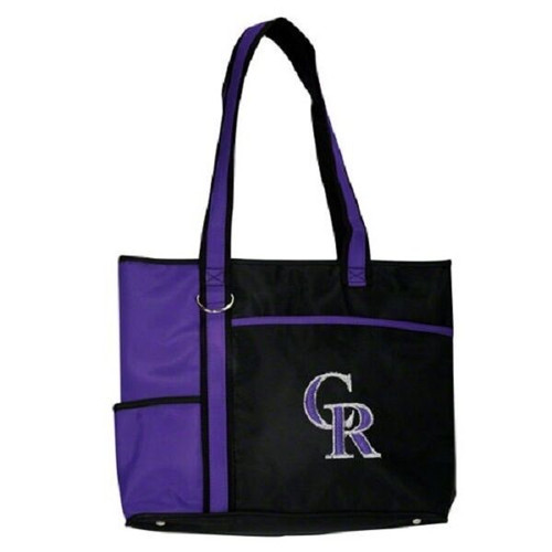 New MLB Carryall Gametime Tote Bag Purse Licensed COLORADO ROCKIES Embroidered