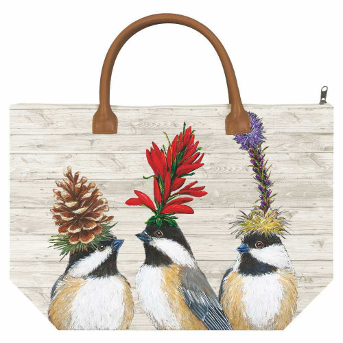 New PPD Vicki Sawyer Canvas Tote Bag CHICKADEE SISTERS Bird Large Multicolor