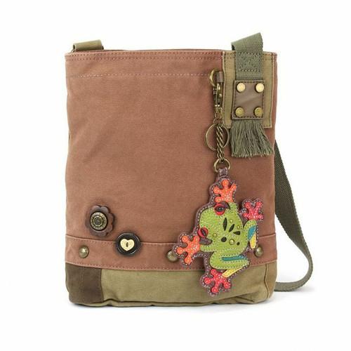 Chala  Patch Crossbody Frog  Bag Canvas Mauve Purple Violet W/ Coin Purse