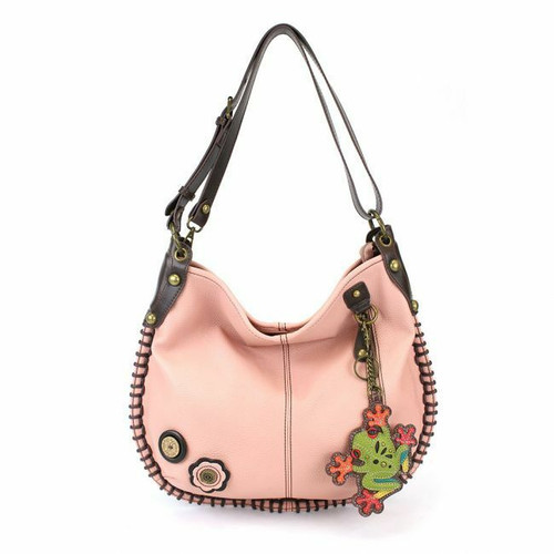 Chala  Hobo Large Tote Bag FROG Pink Vegan leather Convertible Coin Purse gift
