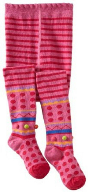 New Country Kids 1 pair HOT PINK STRIPED POM POM Tights 3-5 yrs, 9-11 yrs gift