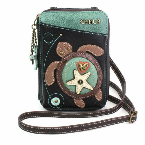 New Chala Wallet Crossbody Pleather Organizer Cell Phone Small Bag Turtle Black