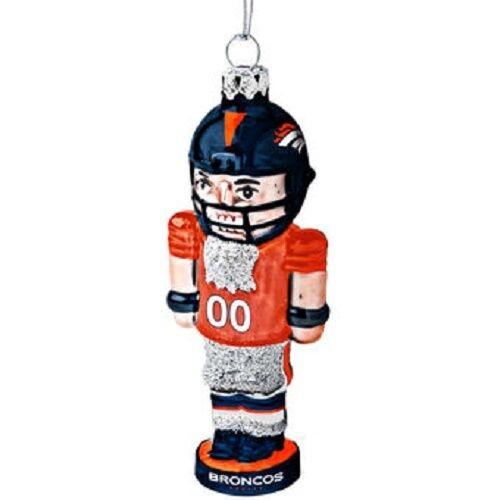 New Glass Glitter Nutcracker Ornament Holiday NFL Licensed DENVER BRONCOS gift