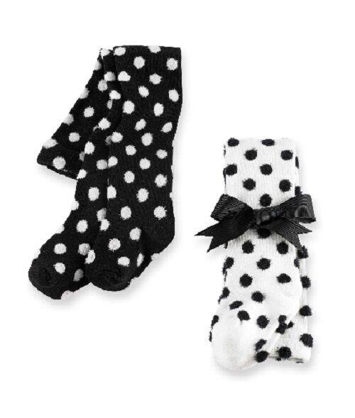 New Mud Pie 2 Styles Fuzzy Dots Tights Black& White Polka 0-6 Months gift