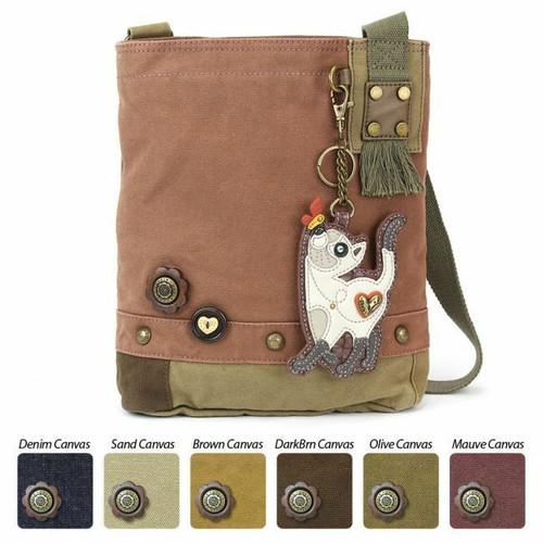 Chala  Patch Crossbody SLIM CAT Bag Canvas Mauve Purple Violet W/ Coin Purse