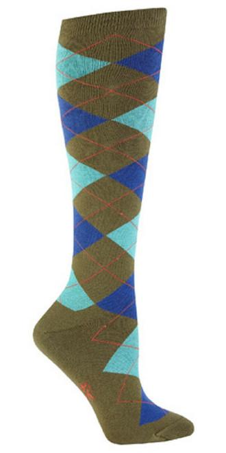 New Sock it to Me Knee High Socks ARGYLE GREEN & TURQUOISE Shoe 5-10 Women gift