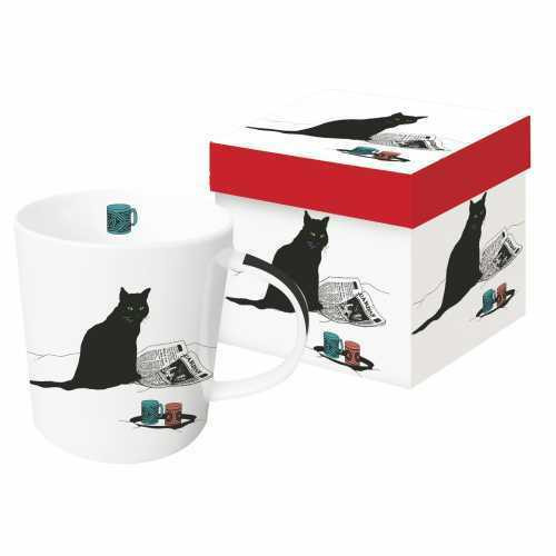New PPD Gift Boxed Mug Porcelain 13.5 oz BLACK CAT JOURNAL Holiday  gift