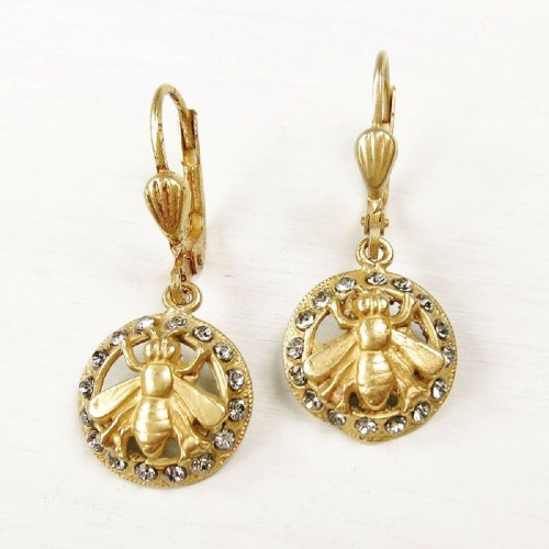 New La Vie Parisienne Catherine Popesco Swarovski Crystal Queen Bee Earrings