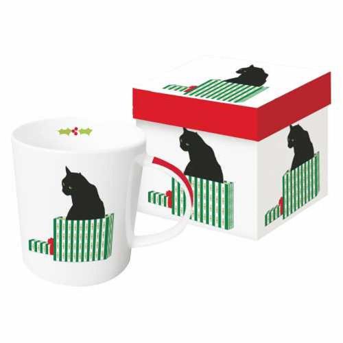 New PPD Gift Boxed Mug Porcelain 13.5 oz BLACK CAT CADEAU Holiday Christmas gift