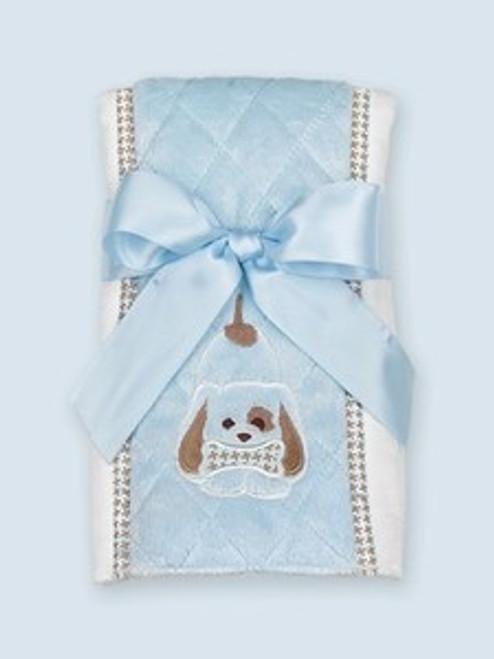 Bearington Baby WAGGLES PUPPY DOG Burp Cloth Blue