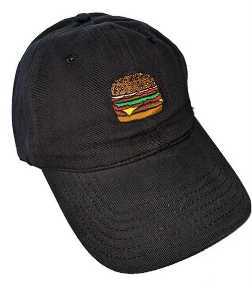 New DAD HAT Baseball Cap Adjustable Adult Embroidered Unisex HAMBURGER Navy Blue