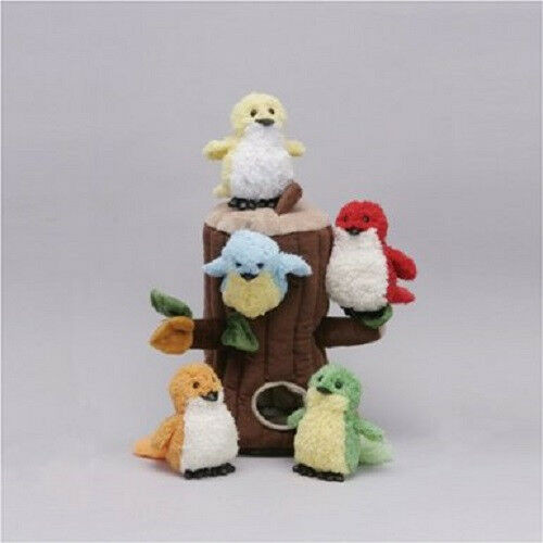 "NEW Unipak 12""  BIRDS HOUSE  5 Birds in Tree Stump Carrying Case Plush Toy gift"
