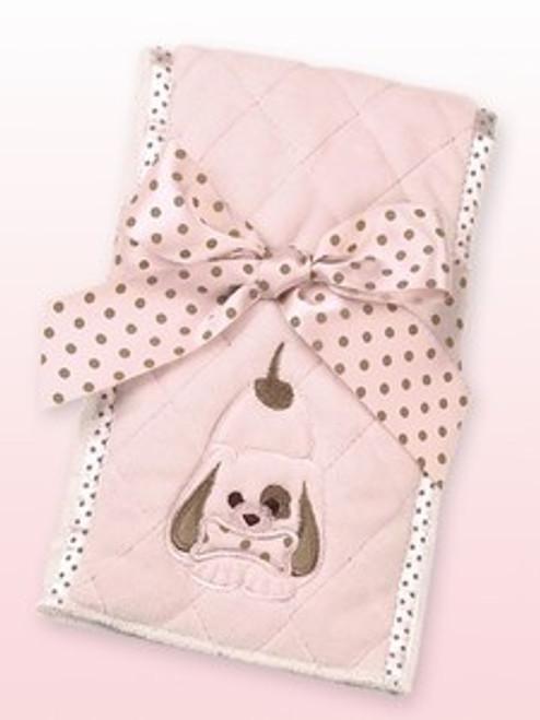 Bearington Baby WIGGLES PUPPY DOG Burp Cloth Pink