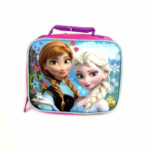 New Disney FROZEN Lunch Tote Bag  Elsa Anna school work Pink & Blue Sparkling