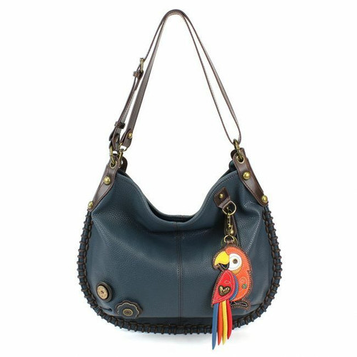 Chala CONVERTIBLE Hobo Large Bag RED PARROT Peather Navy Blue w/ coin purse