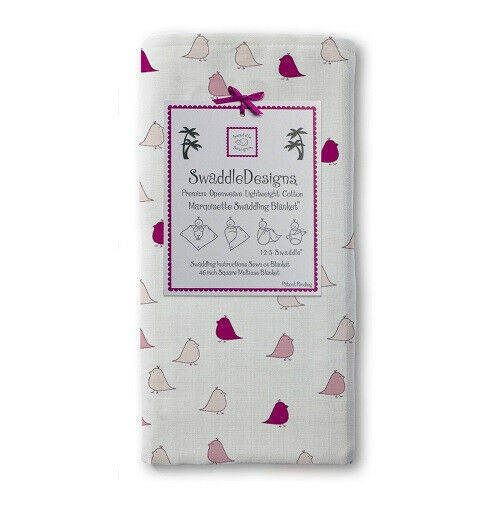 New SwaddleDesigns Marquisette  Swaddling Blanket LITTLE CHICKIES Chicks PINK