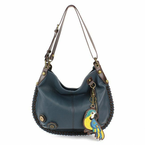 Chala CONVERTIBLE Hobo Large Bag BLUE PARROT Peather Navy Blue gift coin purse