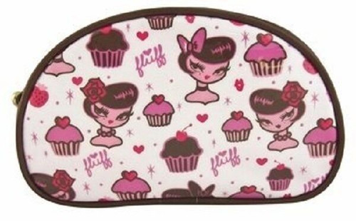 New Fluff GIRL CUPCAKES  Makeup Crescent Cosmetic Bag White Pink cute gift