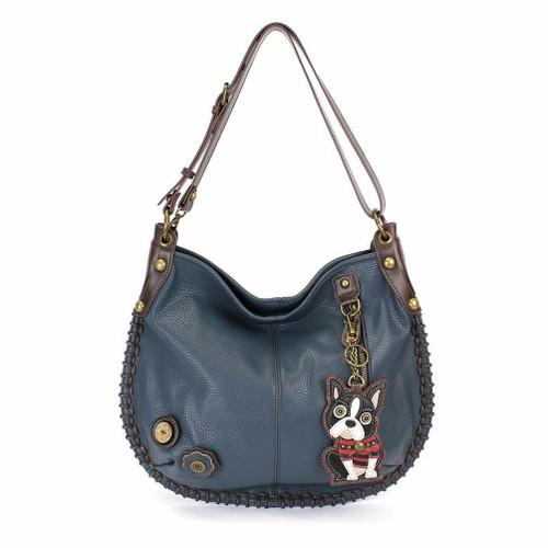 Chala Hobo Crossbody Large Bag Pleather BLUE Convertible Boston Terrier Dog gift