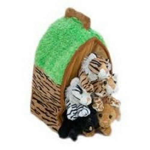 NEW  Unipak Stuffed WILD ANIMAL HOUSE 5 Animals in Carrying Case  Plush toy GIFT