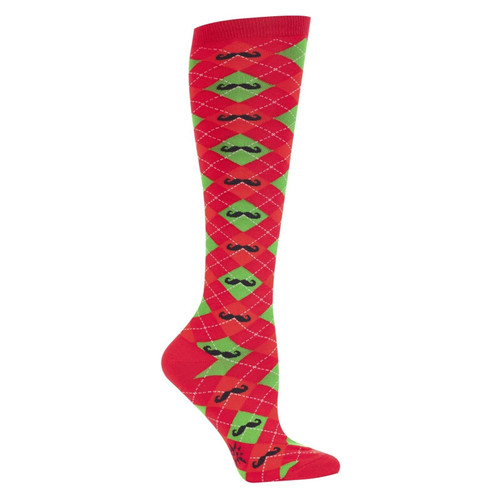 New Sock it to Me Knee High Socks Funky Christmas Holiday Gift MERRY MUSTACHE