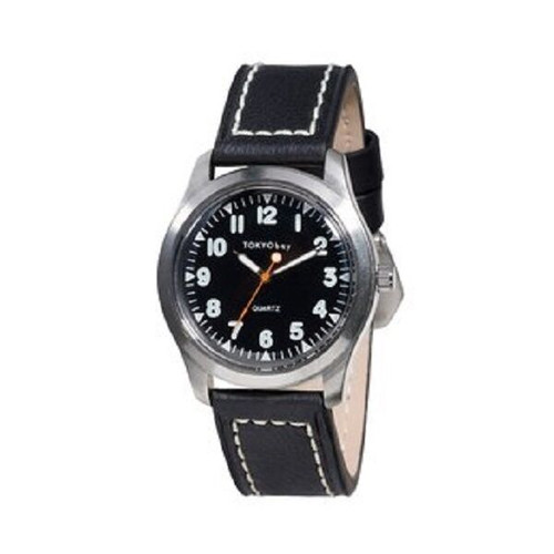 NEW TOKYO BAY Men Watch STRUCTURE  Nice  gift BLACK leather Grad Father gift