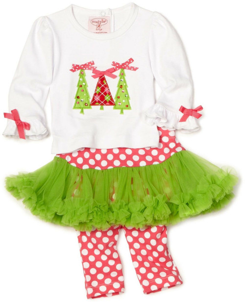 New Mud Pie TRIPLE TREE 2 pc Set TUTU Chrismas Holiday 0-6 Months Baby Girl gift