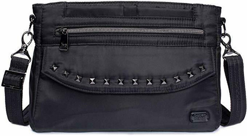 New Lug Travel PACER &  RFID protection Crossbody Shoulder Bag Studded BLACK