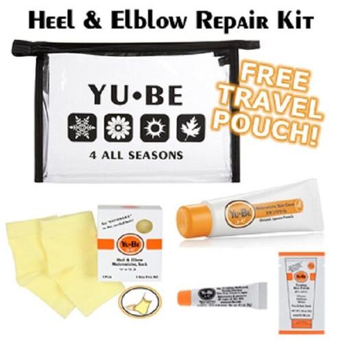 New YU-BE YuBe Heel Elbow Repair Kit Moisturizing Socks Cream Lotion Travel gift