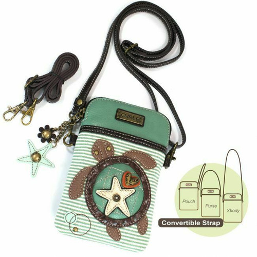 New Chala Cell Phone Purse Crossbody Pleather Converts TURTLE Teal Stripe Green