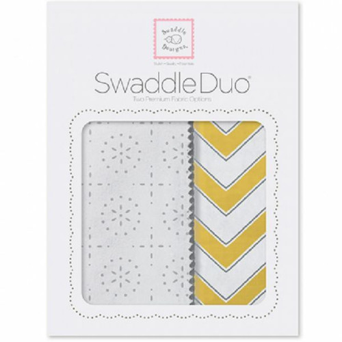 New SwaddleDesigns Swaddling 2 Blankets Swaddle Duo SPARKLER CHEVRON Yellow gift