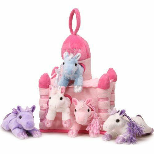 """NEW Unipak 5 HORSES PONY IN  PINK CASTLE HOUSE 11"""" Plush toy gift Adorable cute"""