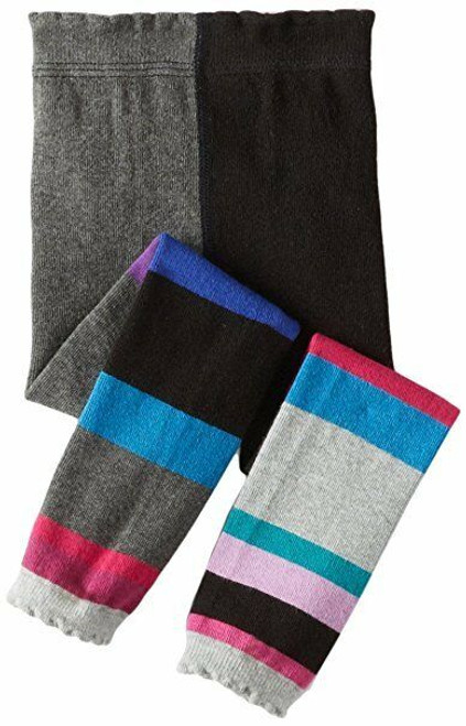 New Jefferies 1 pr Color Block Funky Charcoal Grey Ruffle Footless 2-4 yr gift