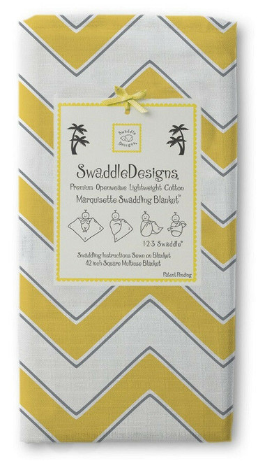 New SwaddleDesigns Marquisette  Swaddling Blanket CHEVRON YELLOW Baby gift