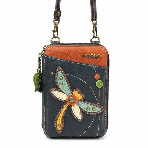 Chala Wallet Crossbody Pleather Organizer Cell Phone Small Bag DRAGONFLY Blue