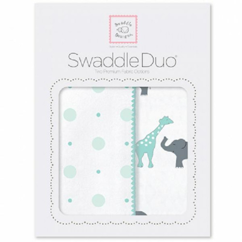 New SwaddleDesigns Swaddling 2 Blankets Swaddle Duo CIRCUS FUN Sea Crystal Green