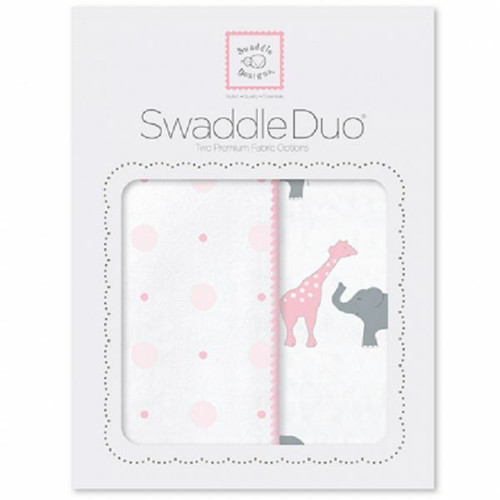 New SwaddleDesigns Swaddling 2 Blankets Swaddle Duo CIRCUS FUN PINK Baby girl