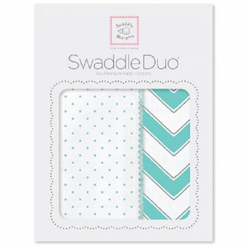New SwaddleDesigns Swaddling 2 Blankets Swaddle Duo CHEVRON Turquoise Green gift