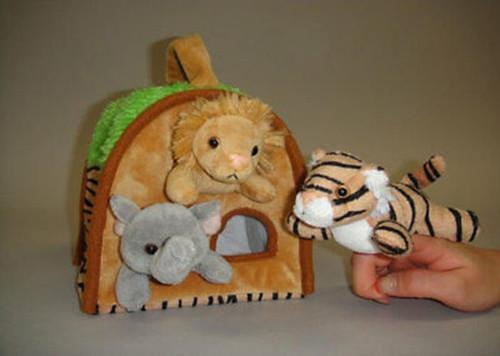 NEW Unipak  Plush WILD ANIMAL HOUSE 3 FINGER PUPPET toy Lion Tiger Elephant gift