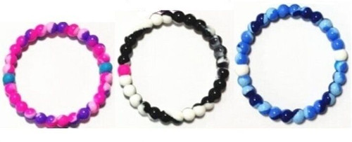 New Lot of 12 Serenity Bracelet 3 Tie Dye Designs Blue Purple Pink Black Silicon