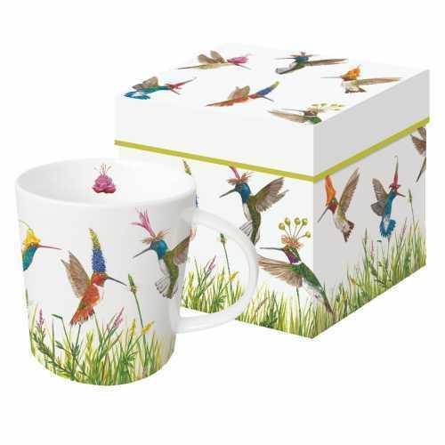 New PPD Gift Boxed Mug Porcelain 13.5 oz Vicki Sawyer MEADOW BUZZ Hummingbirds