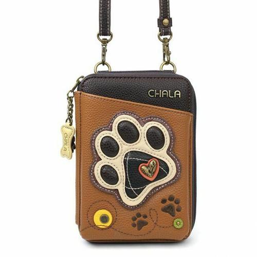 New Chala Wallet Crossbody Pleather Organizer Cellphone Bag PAW PRINT Brown gift
