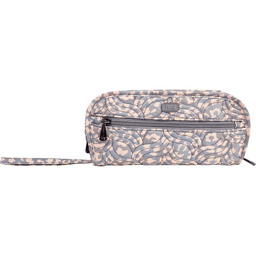 New Lug Travel FLIPPER Jewelry Clutch Organizer Case Bag  LEOPARD PEARL Beige