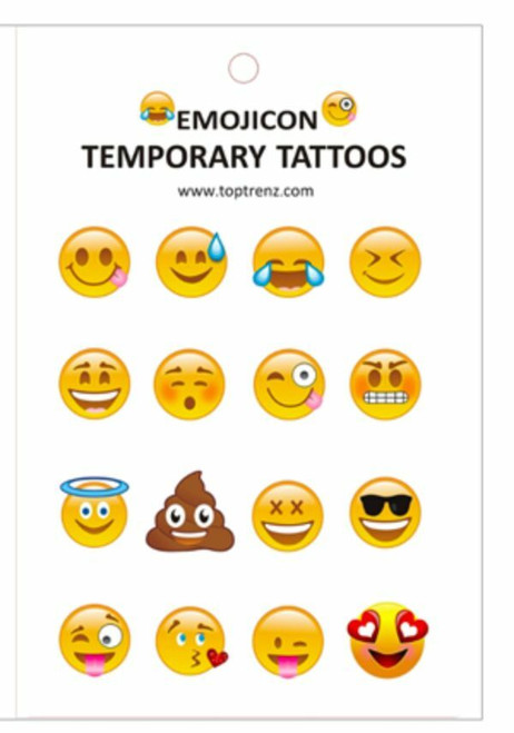 New Top Trenz Lot of 12 sheetsTemporary Tattoos Emoji Emoticon Emojicon 192 pcs
